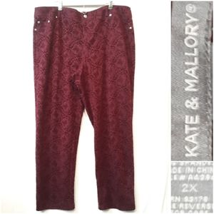 Kate and Mallory Wine Pants With Velvety Pattern